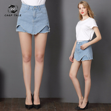 Casual Irregular High Waist Denim Skirt Light Wash Women Ripped Mini Skirt Female mini CARP TALE 2019 Summer women's clothing