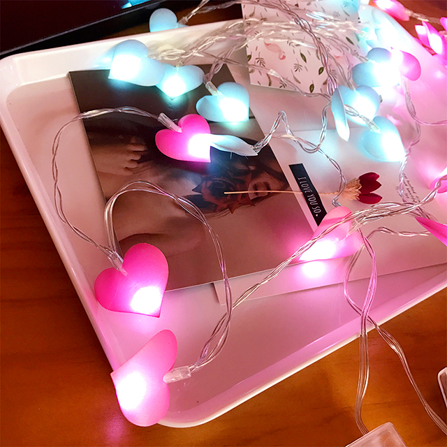 20Led Fairy Pink Blue Purple Heart Battery Operated String Light Luminaria 2m LED Decor For Christmas Garland Wedding gerlyanda