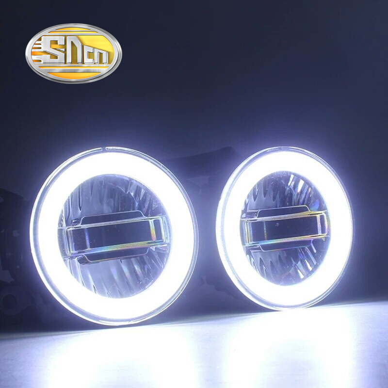 SNCN 3 IN 1 Functions Auto LED Angel Eyes Daytime Running Light Car Projector Fog Lamp For Mitsubishi Outlander 2006 2017 2018
