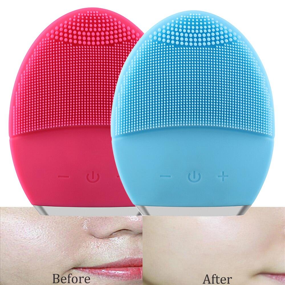 Cuidados com a pele ultra-sônica elétrica escova de limpeza facial vibração pele remover blackhead poros limpador silicone massageador rosto usb