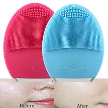 Ультразвуковой аппарат для ухода за кожей Электрический Очищающая щетка для лица вибрационная кожа удалить угри Pore Cleanser силиконовый массажер для лица USB