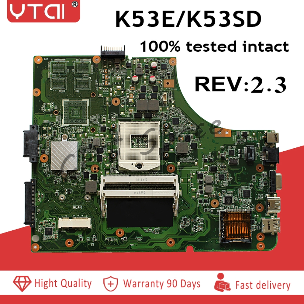 REV:2.3 K53SD motherboard for ASUS K53E P53E K53SD laptop motherboard USB3.0 REV:2.3 HM65 DDR3 mainboard 100% working!-in Motherboards from Computer & Office    1