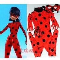 Kids Zip The Miraculous Ladybug Cosplay Costume Halloween Girls Ladybug Marinette Child Lady Bug Spandex Full