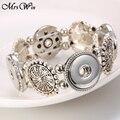 Novo snap Snap jóias Pulseiras para As Mulheres 18mm ginger snaps 4 Botões Pulseira de encaixe de prata Pulseiras diy pulseiras & pulseiras