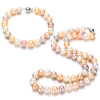 SNH 9mm AA off round pearl Necklace/Bracelet set 100% 925 sterling silver natural cultured freshwater pearl jewelry sets