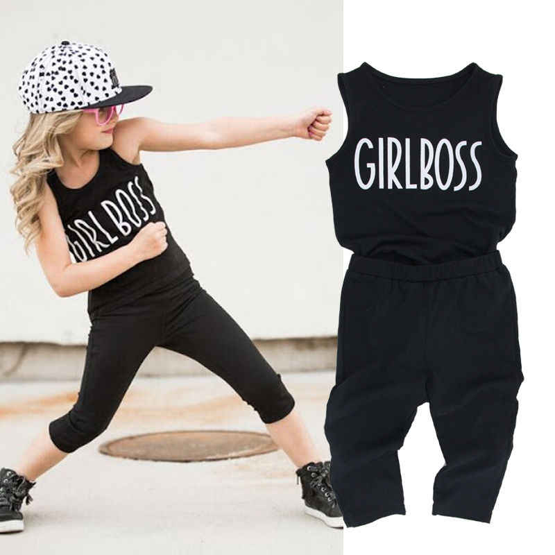 2pcs Toddler Kids Baby Girl Clothes Sleevelesstank Top Vest Capri Leggings Trousers Girl Boss Outfit Clothing Set 2 7y Clothing Sets Girls Clothesoutfit Set Girl Aliexpress