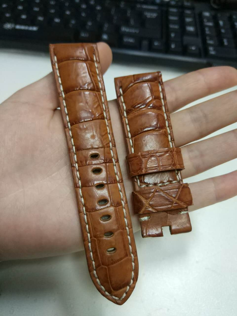 A191 Luxury Brown Alligator Genuine Leather Watch Strap 24/22mm Watchband with Buckle  d 32 fashion purple red fish skin leather watch strap 24 22mm watchband with buckle