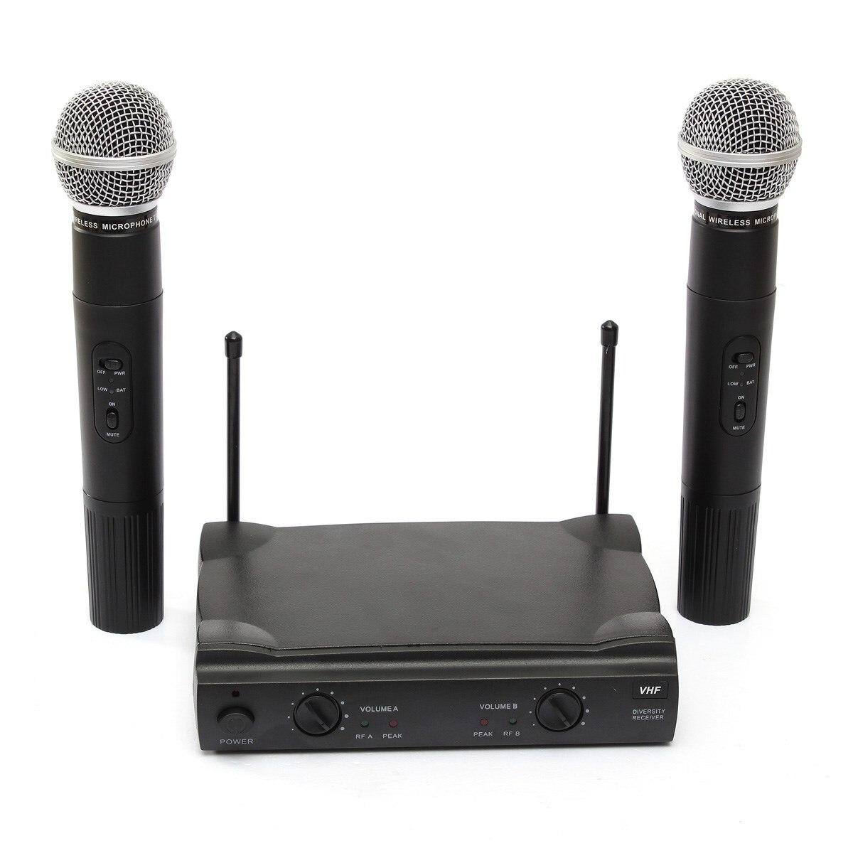 ФОТО Best Professional 2 Dual Wireless Cordless Handheld Microphone Mic Receiver DJ KTV Club Party Concert Home Microphone US Plug
