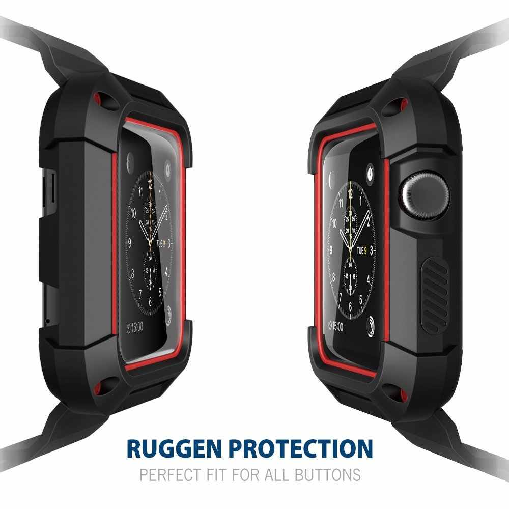 2b5381d4ed3 TPU Rugged Protective Case Cover with Wrist Strap Band Replacement for Apple  Watch iWatch Series 1 .