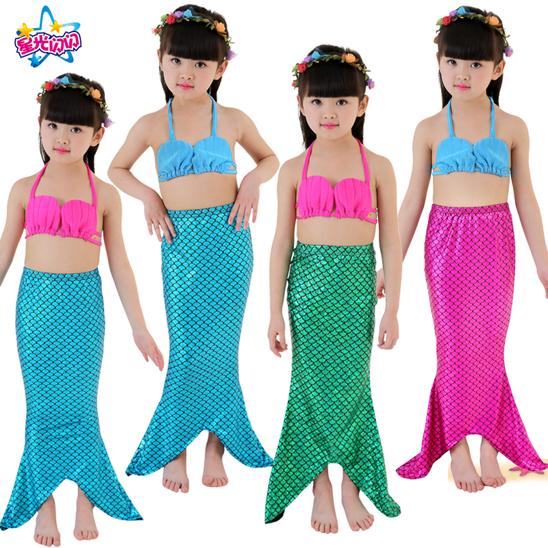 3 UNIDS Niña Sirena Cola Shell Halter Swimmable Swimwear traje de - Disfraces