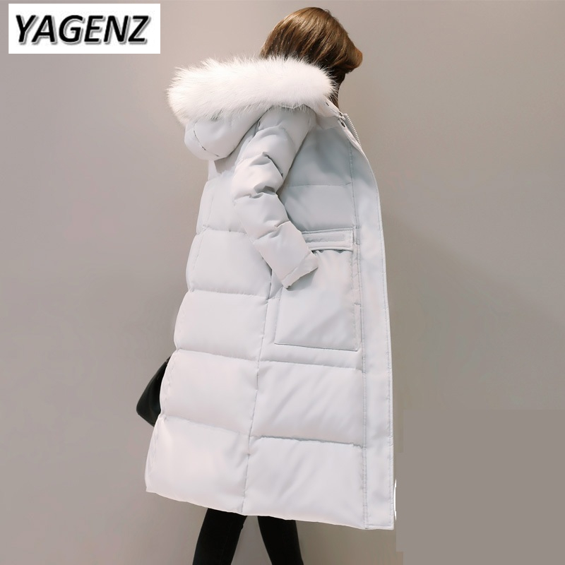 2018 New Winter Parkas Women Down cotton Jacket Hooded Coats Slim Warm Thick Big Fur collar Down Long Overcoat Boutique Clothing