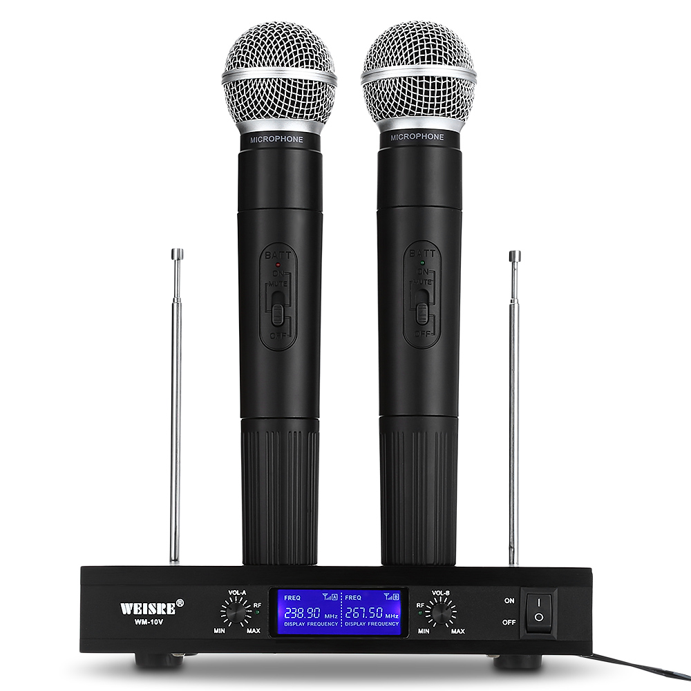 WEISRE VHF Professional Wireless Microphone System Dual Channel Handhold Dynamic Microphone for Karaoke Party Conference Wedding pro 8 channel wireless gooseneck conference meeting mic microphone system for room church schoolroom karaoke wcm f6108 wholesale