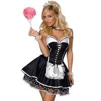 Precio al por mayor sexy traje de mucama francesa de halloween negro y blanco camarero fancy dress cosplay uniforme del partido traje de ama de llaves