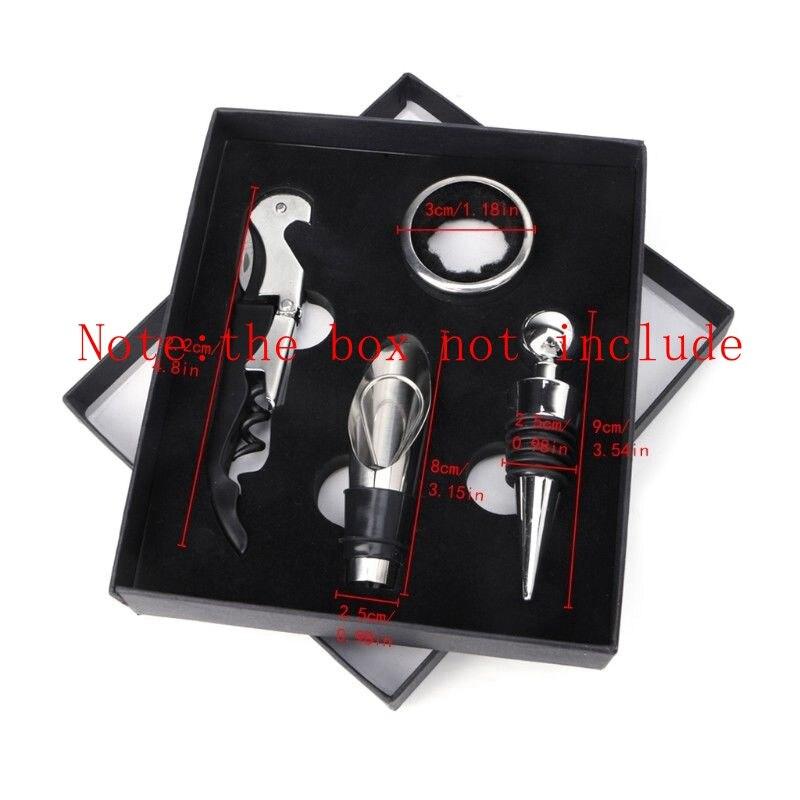 Stainless Steel Wine Tool Gift Set Bottle Opener Corkscrew Stopper Pourer 4pcs Set YYY9493