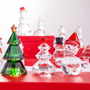 Image 4 - H&D Green Crystal Glass Christmas Tree Holiday Figurine with Gift Box Handmade Collectible Gift Craft for Christmas Day