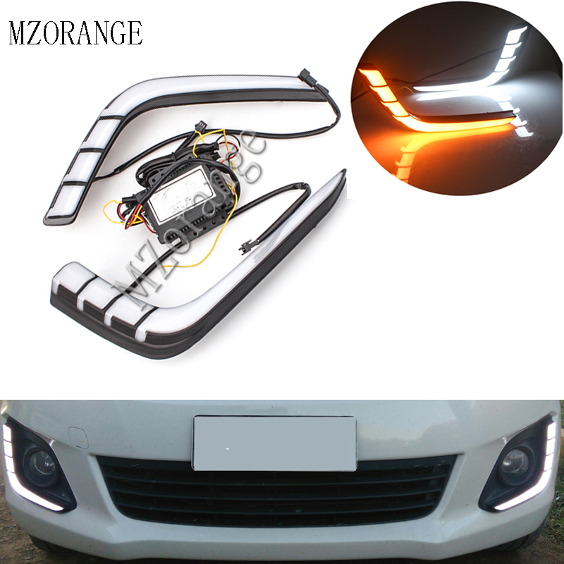 DRL LED Daytime Running Light For Suzuki Swift 2014 2015 2016 Yellow Turning Signal Style Relay Waterproof ABS Case 12V in Car Light Assembly from Automobiles Motorcycles