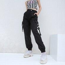 Weekeep Black High Waist Cargo Pants Women Side Pockets Streetwear Pantalon Femme Fashion Loose Pencil Pants Women's Trousers