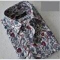 2015 Nova Queda dos homens Boutique de moda de Lazer Camisa de manga longa de impressão cotton Cruz Linha Slim Fit Camisas de Vestido de negócios da marca