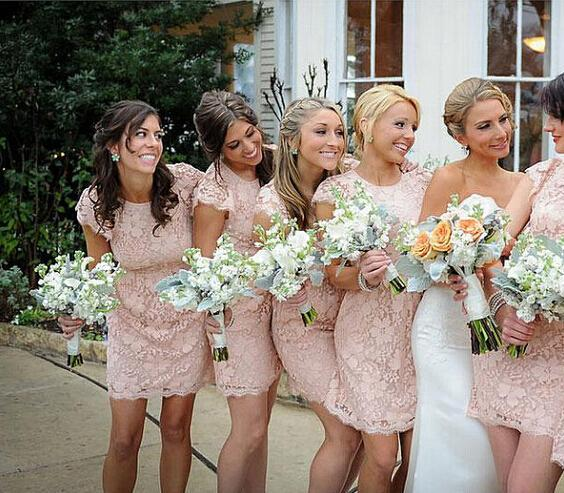 Pink Lace Bridesmaid Dresses 2016 High Neck Sheer Cap Sleeves Y Backless Beach Garden Wedding Party Gowns Custom Made In From