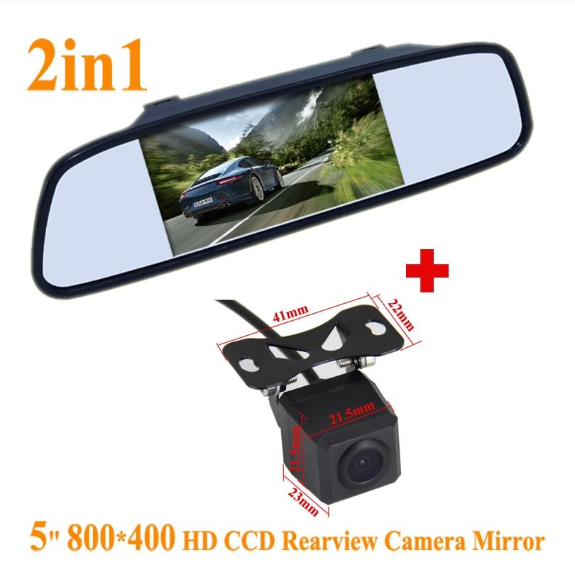 "5\"" Color digital TFT LCD Screen Car Rearview Mirror <font><b>Monitor</b></font> & Backup Rear licence plate Camera Camera,Free Shipping"
