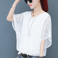 white Women Lace Shirts Casual Batwing Sleeve Tops fashion V Neck Short Sleeve Blouses women Summer Hollow Out Elegant Shirts