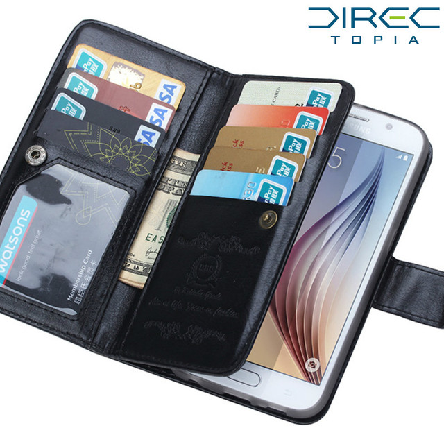 best authentic cce4d 86863 US $8.88 |2 in 1 Purse Case For Samsung Galaxy S6 Wallet Case Flip Leather  Card Slots Hand Bag Luxury Wallet Leather Cover car holder-in Wallet Cases  ...