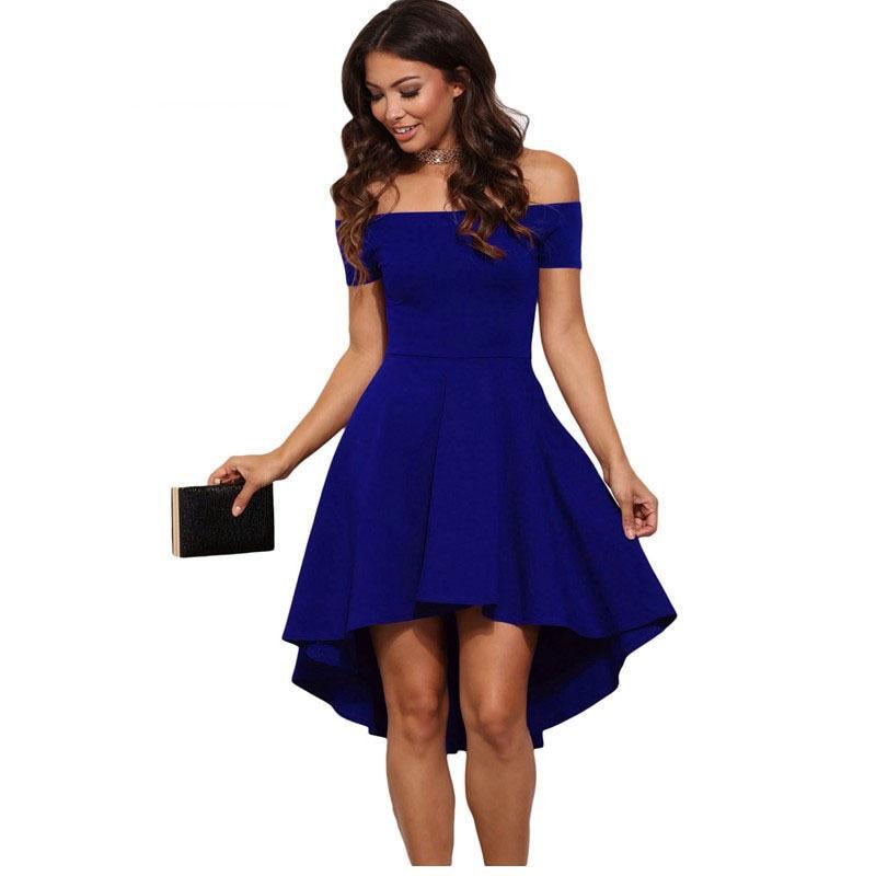 мода 2017 г. офис женские туфли платье для женщин летние сдал с открытие плечами асимметричная чудик вечернее кэша с Корк по колено платья для женщин популярные