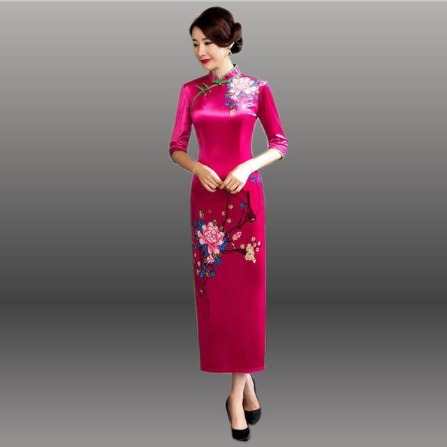 695211bf75a6b9 € 39.25 40% de réduction|Velours Cheongsam Long Qipao robes chinois  traditionnel Robe de soirée Robe Chinoise Oriental mariage jaune chine dans  ...