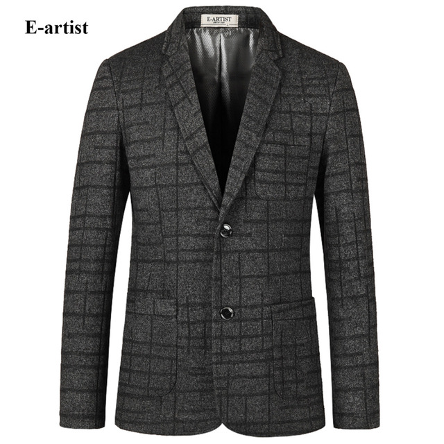 E-artist Men's Slim Fit Business Casual Woolen Blazer Jackets Male Lattice Pattern Suit Coats Outwear Overcoat Plus Size 5XL X27