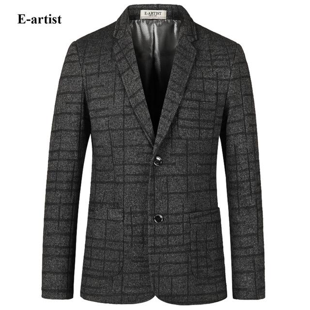 E-artista de Los Hombres Slim Fit Business Casual Blazer Chaquetas de Lana Masculino Celosía Patrón Suit Abrigos Outwear Abrigo Plus tamaño 5XL X27