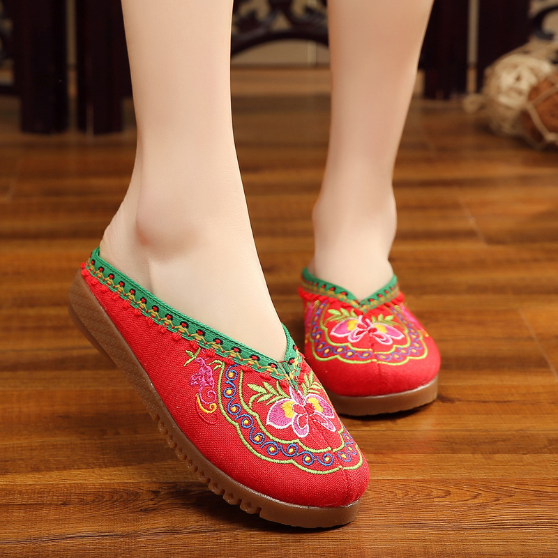 Charming New Design Arrive Summer Fashion Old Beijing Embroidery Home Women Slippers Casual Female Soft Shoes Mujer Plus Size 41 traditional chinese style shoes embroidery dance women fashion old beijing mary jane shoes woman red flats single casual plus 41