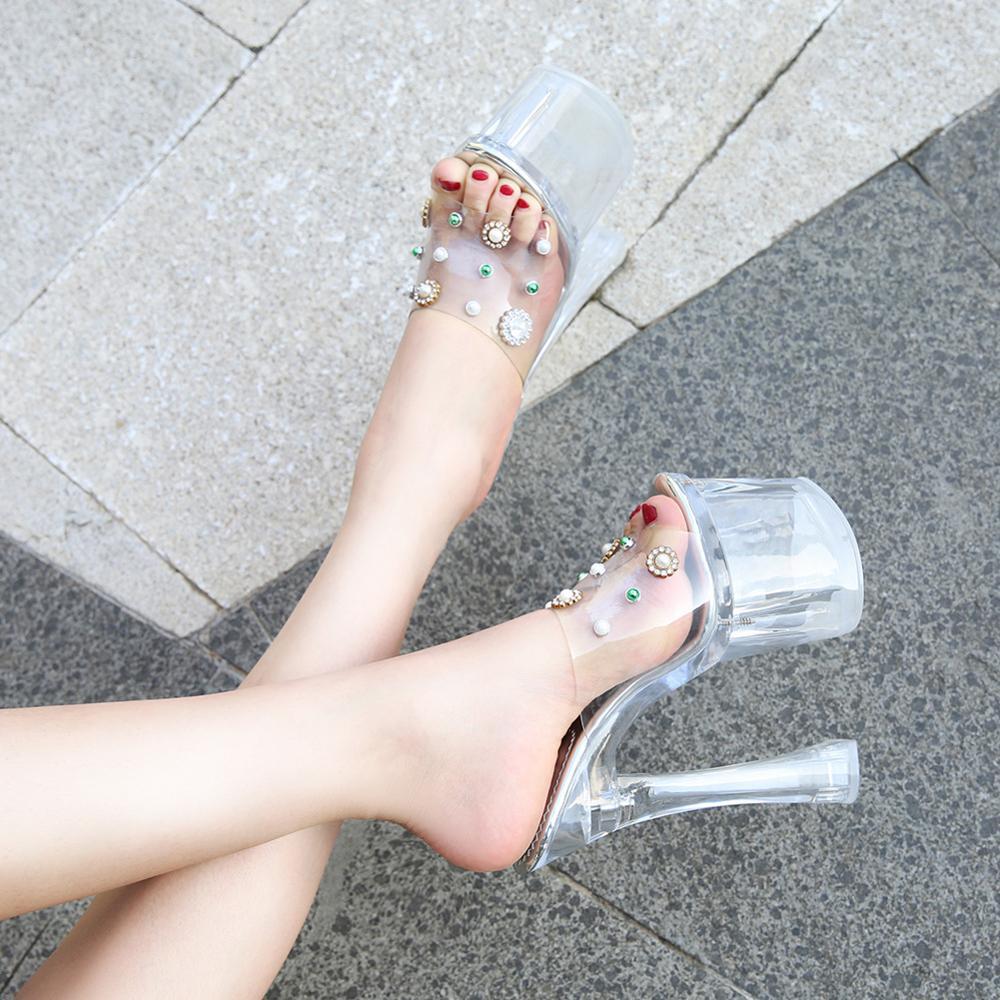 2019 été femmes chaussures pantoufles femmes plate-forme Rivet talons hauts 18cm mode perle clair Transparent parti chaussures femme pompes
