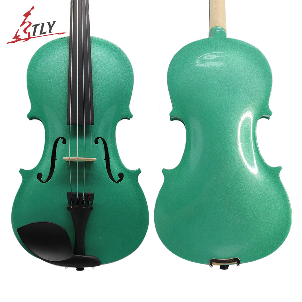 TONGLING Green Acoustic Violin 4/4 3/4 1/2 1/4 1/8 for Beginner Students w/ Case Bow Rosin Shoulder Rest Mute Strings
