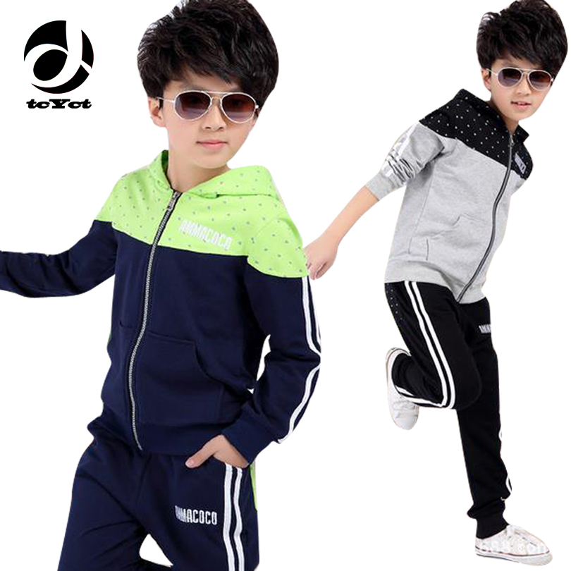 New spring autumn kids clothes sets children casual 2 pcs suit jackets hoodies+pants baby set boys sport suit outwear 4-12 years