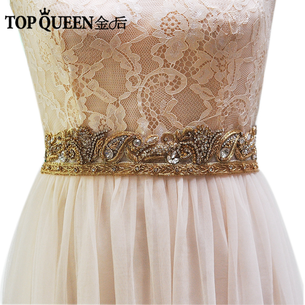 TOPQUEEN AS07-G  Wide Women Belt Wedding Sashes Belt/Waistband Bridal Belts Sashes Beaded Indian Belts India Lace Bridal Belts