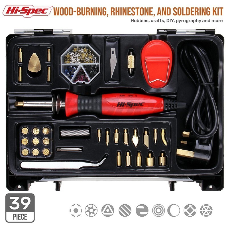 Hi-Spec 35pc 2 in 1 0-15W-30W Dual Temperature Electrical Soldering Iron Kit Pyrography Wood Burning Tool Set Iron Solder Pen цена