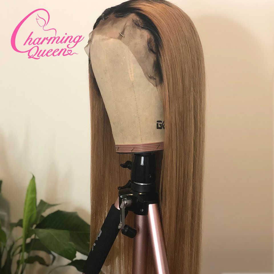 Бразильские прямые человеческие волосы на кружеве парики для черных женщин Омбре цветные волосы Реми бесклеево парик