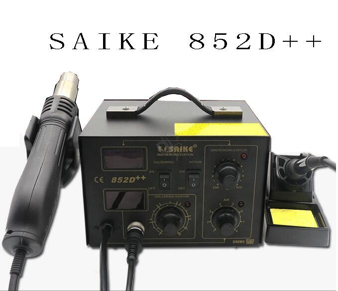 SAIKE 852D++ Iron Solder Soldering Hot Air Gun 2 in 1 Rework Station not have Accessories  dhl free saike 852d iron solder soldering hot air gun 2 in 1 rework station 220v 110v many gifts
