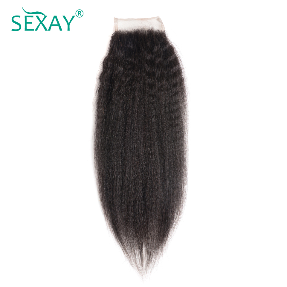 Sexay Brazilian Kinky Straight Hair Lace Closure Pre-Colored Natural Black Color Remy Human Hair Pre Plucked 4x4 Lace Closure