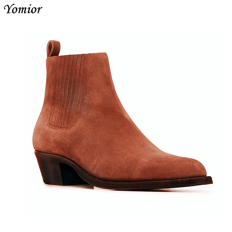 Yomior 2019 Handmade Vintage Men Real Leather Shoes Vintage Gentleman Dress Pointed Toe Ankle Boots Slip On Wedding Chelsea Boot-in Chelsea Boots from Shoes    2