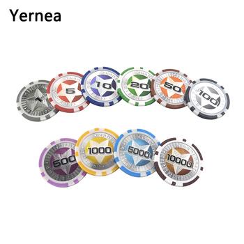 Yernea 25 sztuk partia pokera z tworzywa sztucznego zestaw układów dostosować pogrążalne wibratory żetonów gra 12g Baccarat wysokiej Texas Hold #8217 em zestaw żetonów karty do pokera tanie i dobre opinie YL00600 plastic + embedded iron Long shorts five-pointed star chips 40mm*3 3mm Texas Hold em Baccarat Mahjong 25PCS 1 5 10 20 50 100 500 1000 5000 10000