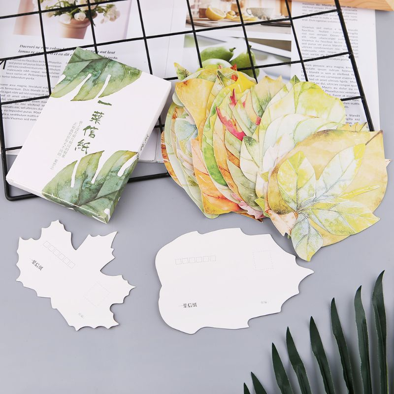 30 Sheets Lovely Leaf Postcard Letter Birthday Gift Card New Year Wish Message Poster Cards Girls Gifts C26