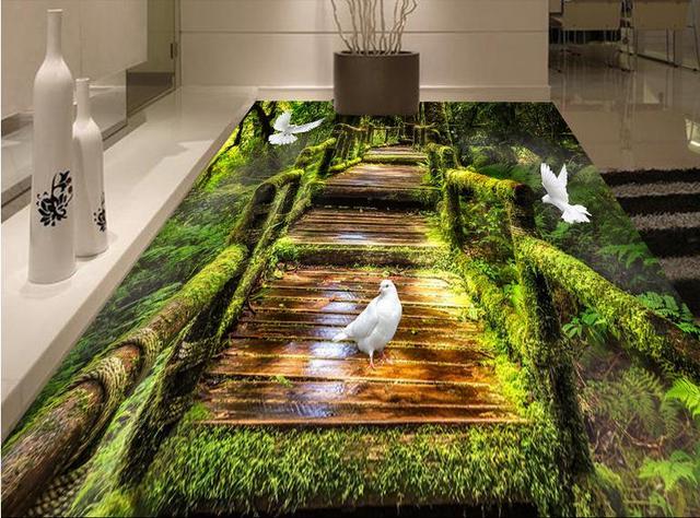 Benutzerdefinierte 3d Boden Malerei Kinderzimmer Tapete Wald Moos 3d