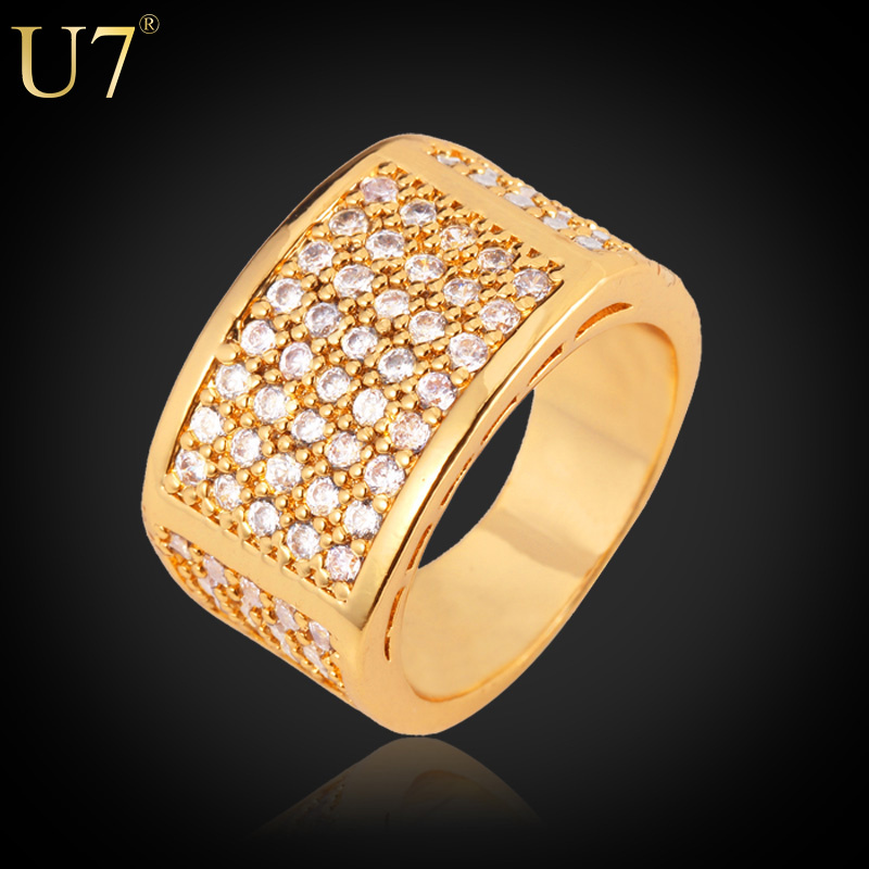 buy u7 gold color ring for men jewelry. Black Bedroom Furniture Sets. Home Design Ideas