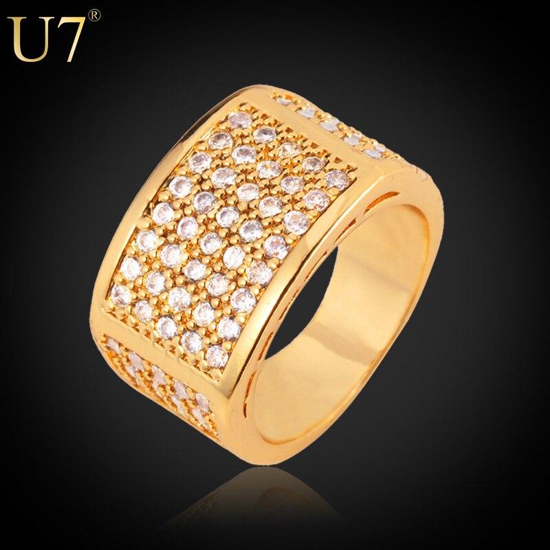 Prix pour U7 or couleur anneau pour les hommes bijoux de haute qualité de luxe zircon cristal de mariage engagement band anneau hommes r320