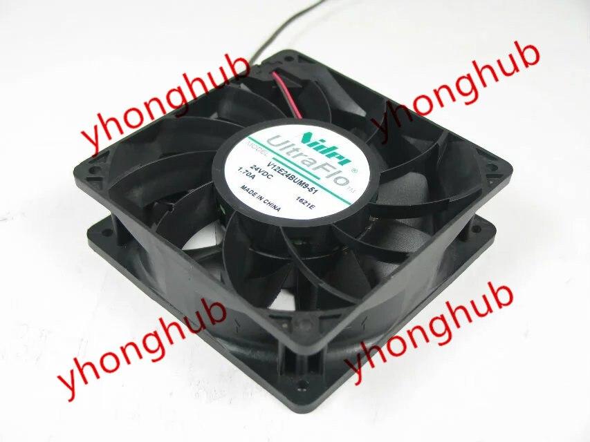 NIDEC V12E24BUM9-51 DC 24V 1.70A 120x120x38mm Server Square fan nidec ta350dc c35403 57 server square fan dc 24v 0 15a 92x92x25mm 3 wire