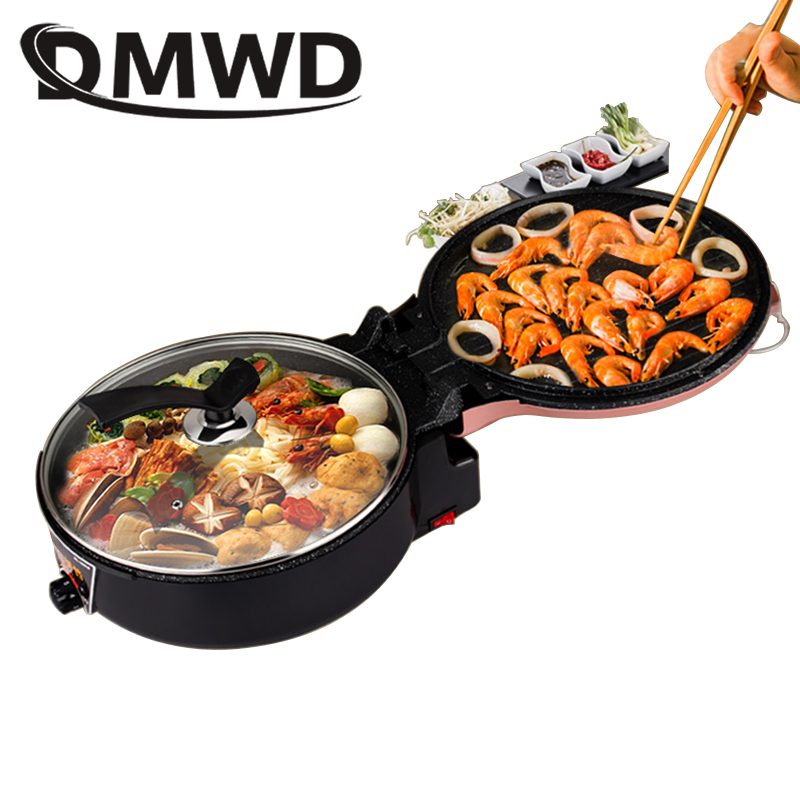 DMWD Multifunction Electric Crepe Maker Pizza Baking Pan Steak Barbecue Frying Grill Double Plate Heating Hotpot