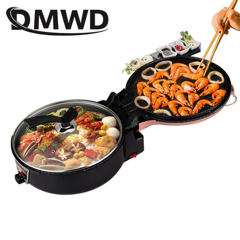 DMWD multifonction électrique crêpière Pizza cuisson poêle Steak Barbecue gril Double plaque chauffage Hotpot cuisinière poêle