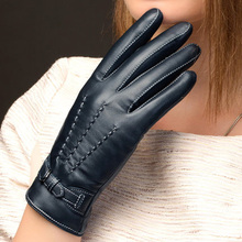 Women Genuine Leather Gloves Fashion  Sheepskin Glove Autumn Winter Thermal Velvet Lining Driving NW707-5
