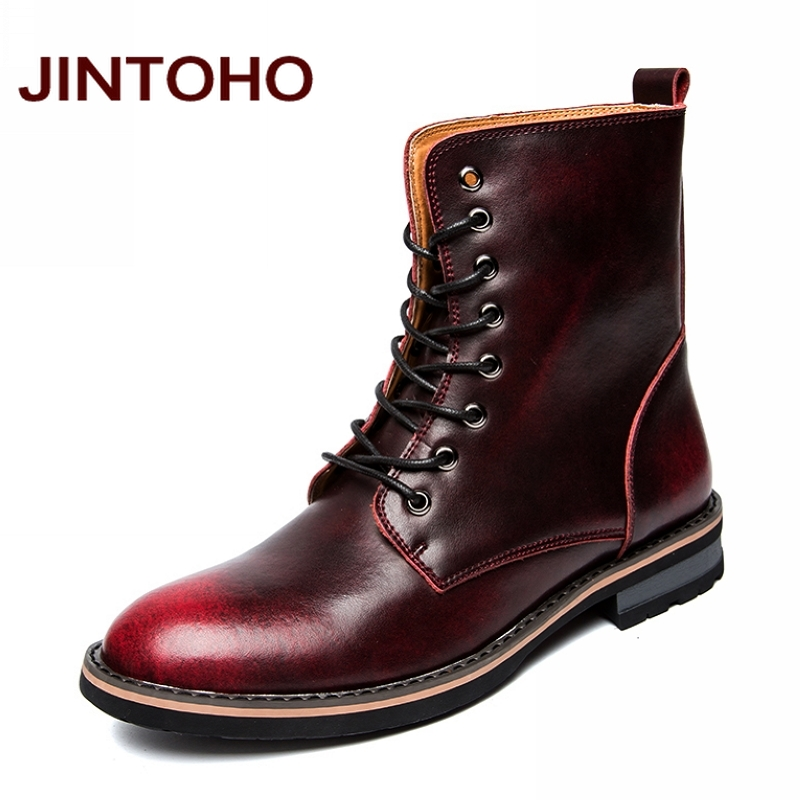 JINTOHO High Quality Winter Leather Boots Winter Warm Men Shoes Cow Split Rubber Boots Glitter Italian Men Boots 2016 Booties ...